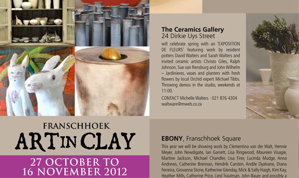 Franschhoek Art in Clay Festival and Potters' Market